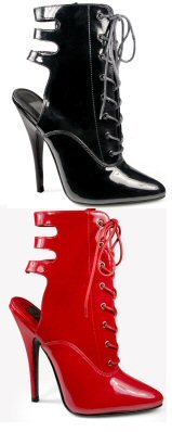 Domina - Women's Lace Up Open Heel Ankle Boot with Cut-Out Buckles