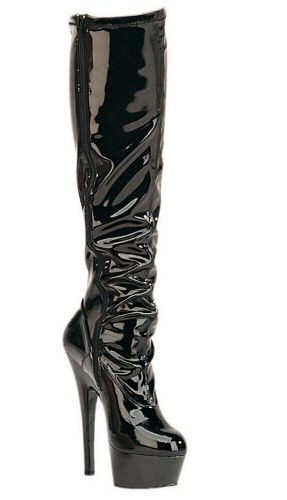 Kiss - Women's Knee High Boots with Wrinkled Front