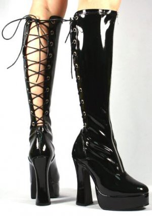Electra - Women's Knee High Boot with Back Lace Up and Front Zipper
