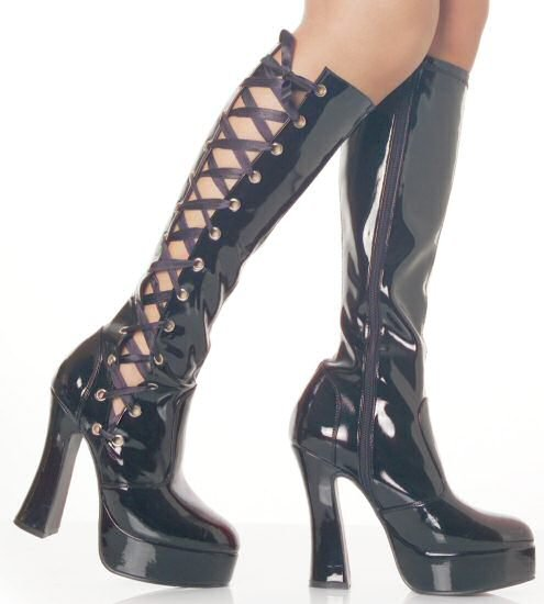 Electra - Women's Knee High Boots with Ribbon Lace Up Side