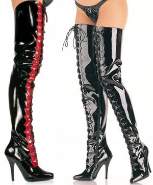 Seduce - Women's Thigh High Boots with Scalloped Trim and D-Ring Lace Up