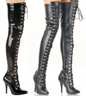 Seduce - Women's Thigh High Boots With Front Lace Up D-Ring Eyelettes