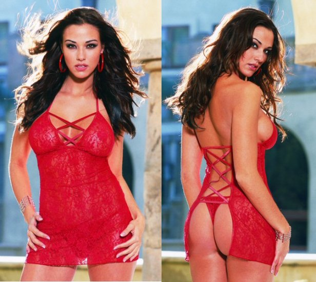 Two Piece Open Back Rear Lace Babydoll Set