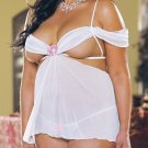 2 Piece Chiffon Open Cup Babydoll Set with Rosette Design