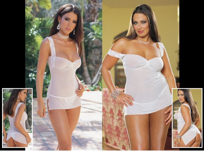 2 Piece Dot Mesh Babydoll Set with Lace Shoulder Straps