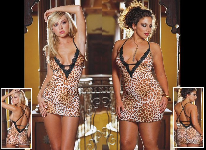 2 Piece Leopard Print Babydoll Set with Open Back & Lace Trim