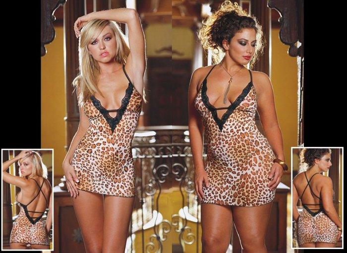 2 Piece Leopard Print Babydoll Set with Open Back & Lace Trim