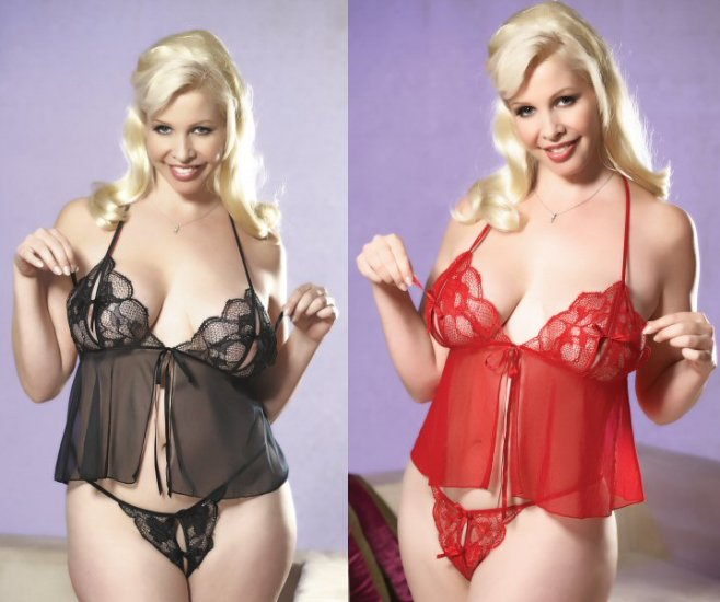 2 Piece Plus Size Peek-a-boo Babydoll Set