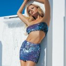 2 Piece Crochet Skirt Set with Iridescent Scale Sequins