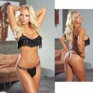 Open Cup Bra Set with Fringe