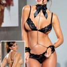 3 Piece Open Cup Bra Set with Chained Lace Collar and Cuff