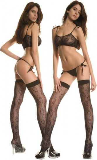 3 Piece Leaf Lace Bikini Set with Matching Stockings