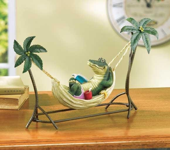 CROCODILE IN HAMMOCK FIGURINE---Item #: 38000