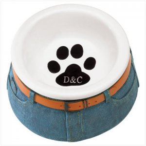 BLUE JEAN CERAMIC PET BOWL---Item #: 37082