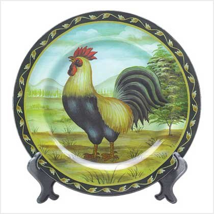 DECO ROOSTER PLATE W/ STAND---Item #: 38924
