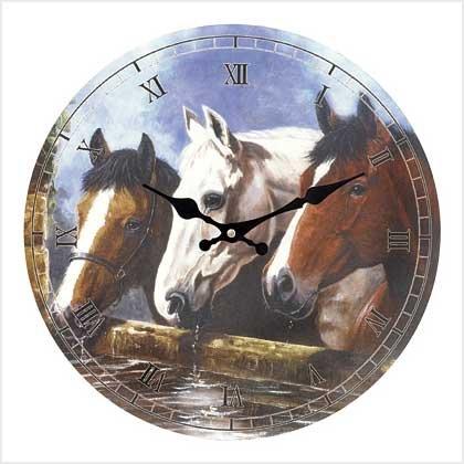 EQUESTRIAN WALL CLOCK-Horse---Item #: 39153