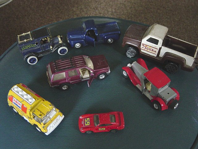 Set of Seven Vintage Vehicles Trucks Cars Maisto Hotwheels Tonka Ertl #600056
