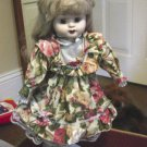 "15"" Vintage Fine Bisque Porcelain Doll Long Blond Hair Floral Dress #600206"