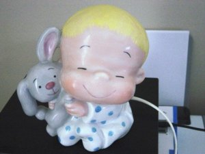 Schmid 1992  Marty Links Little Boy Holding Rabbit Porcelain Night Light Rare   #600338