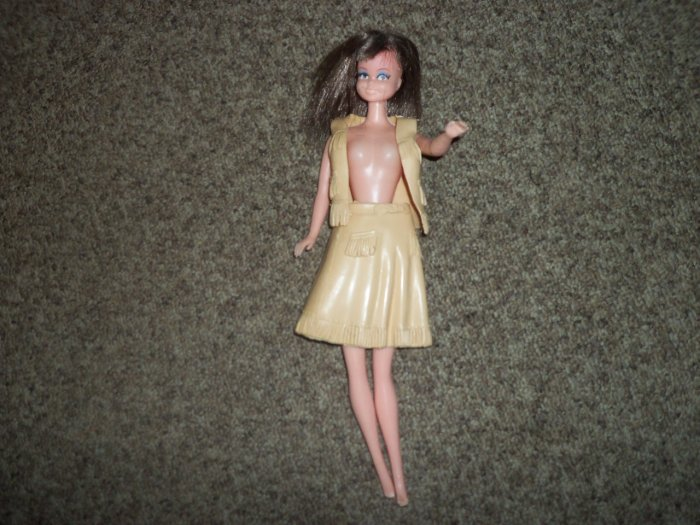 """1980 Vintage 11 1/2"""" Fashion Doll with Vinyl Skirt and Vest #600419"""