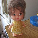 "1950s–1960s Old Vintage Celluloid 5"" Brunette Hair Doll Original Clothes #600528"