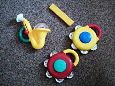 Set of 4 Kiddieland Plastic Toy Instruments Saxophone, 2 Cymbals, Harmonica #600632