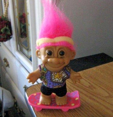 "Russ 5"" Skateboarding Troll Doll Pink Hair #600607"