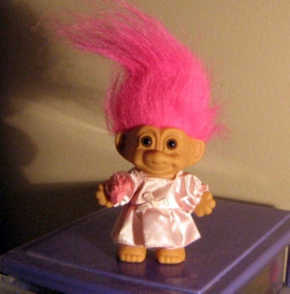 "3"" Russ Troll Doll In Pink Dress With Bright Pink Hair #600521"