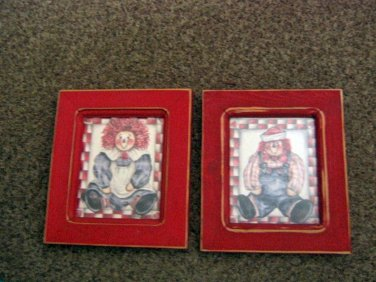 Pair of Raggedy Ann and Andy Pictures in Red Frames Plus Decoupaged Light Switch Cover #600613