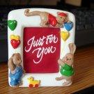 Small White Ceramic Children's Animal Picture Frame  #600344