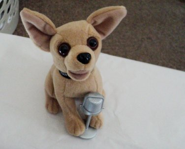 """6"""" Plush Official Talking Taco Bell Chihuahua Dog Sings """"Chances Are""""  #600665"""