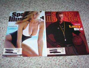 2 Sports Illustrated magazines Heidi Klum 1998 & Larry Bird 1997