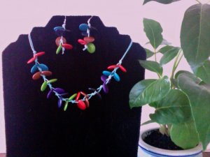 Necklace & Earrings- Multicolor
