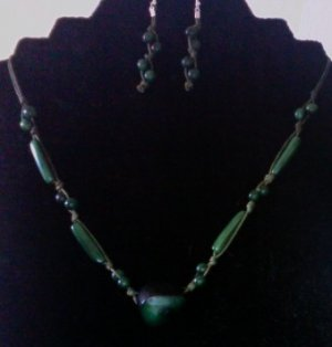 Necklace & Earrings- Forest Green
