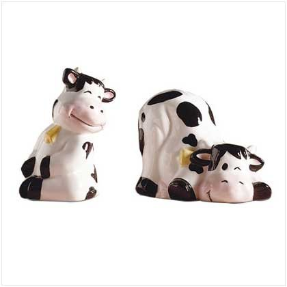 PLAYFUL COW SALT AND PEPPER SHAKERS