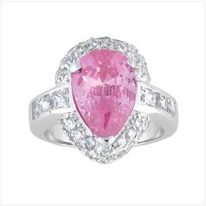 Pink Teardrop Silver Ring