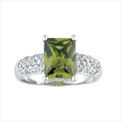 Green Square Silver Ring