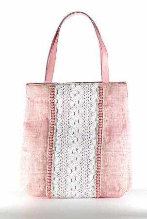 Figi Lace - Pink Straw Tote Bag