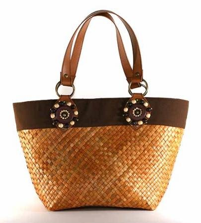 Kenya - Small Tote Bag w/ Brown Trim