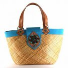 Kenya - Small Tote Bag w/ Turquoise Trim
