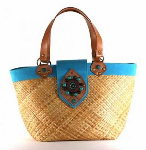 Kenya - Small Tote Bag w/ Turquoise Trim