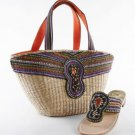 Marrakesh Basket - Straw Basket w/ Purple Beads