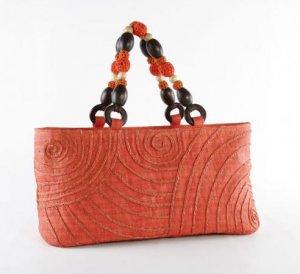 New Swirl - Hobo Bag w/ Raffa Embroidery and Crochet Wood Beaded Handle