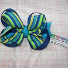 C23- Blue and Green Boutique Bow
