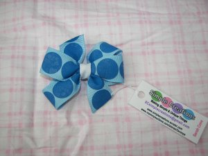 B93- Blue Polkadot Small Pinwheel Bow