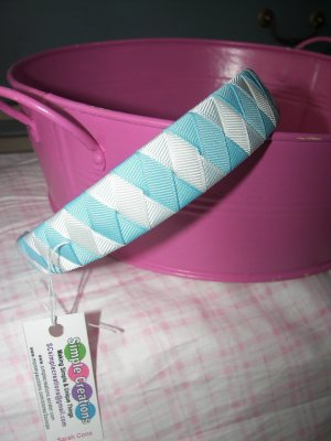B57- White and Light Blue Woven Headband