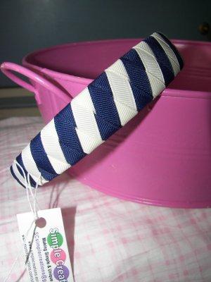 B10- White and Navy Blue Woven Headband