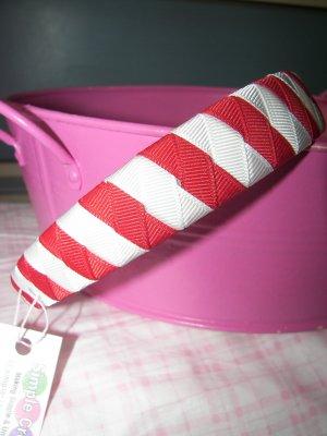B49- Red/White Woven Headband