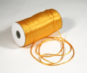 "1/8"" Light Gold Satin Rat Tail Cord - 200 yds"