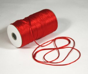 "1/8"" Red Satin Rat Tail Cord - 200 yds"
